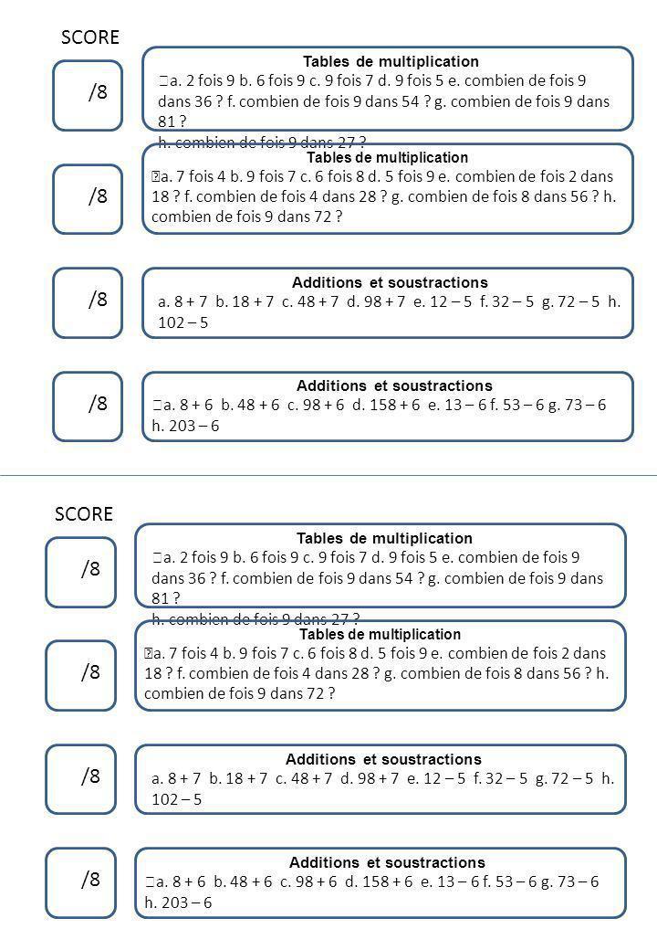 SCORE /8 Tables de multiplication ™ a. 2 fois 9 b. 6 fois 9 c. 9 fois 7 d. 9 fois 5 e. combien de fois 9 dans 36 ? f. combien de fois 9 dans 54 ? g. c