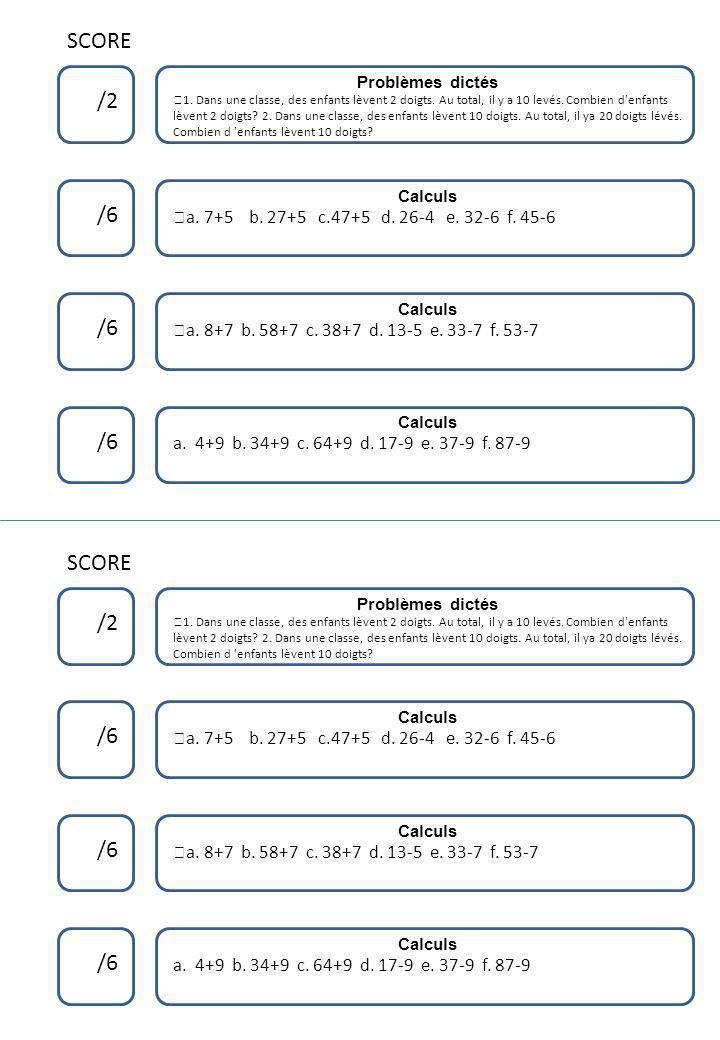 Doubles et moitiés 8 Calculs Dictée de nombres Problèmes dictés 6 28 5 Doubles et moitiés 8 Calculs Dictée de nombres Problèmes dictés 6 28 5