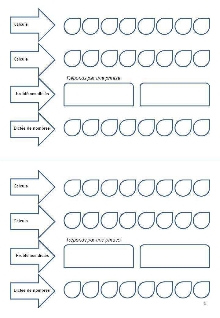 Calculs Problèmes dictés Dictée de nombres Réponds par une phrase 6 Calculs Problèmes dictés Dictée de nombres