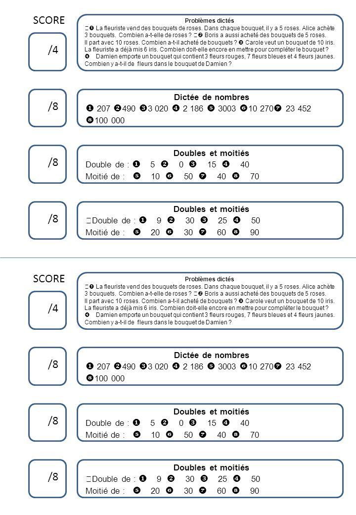 Calculs Problèmes dictés Calculs Dictée de grands nombres Réponds par une phrase Calculs Problèmes dictés Calculs Dictée de grands nombres Réponds par une phrase