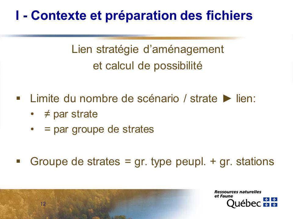 12 Lien stratégie daménagement et calcul de possibilité Limite du nombre de scénario / strate lien: par strate = par groupe de strates Groupe de strat