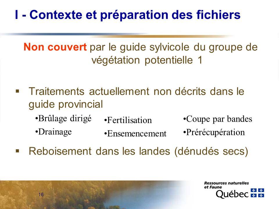 16 Non couvert par le guide sylvicole du groupe de végétation potentielle 1 Traitements actuellement non décrits dans le guide provincial Reboisement
