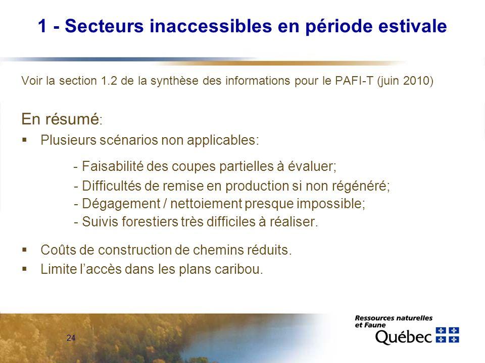 24 Voir la section 1.2 de la synthèse des informations pour le PAFI-T (juin 2010) En résumé : Plusieurs scénarios non applicables: - Faisabilité des c