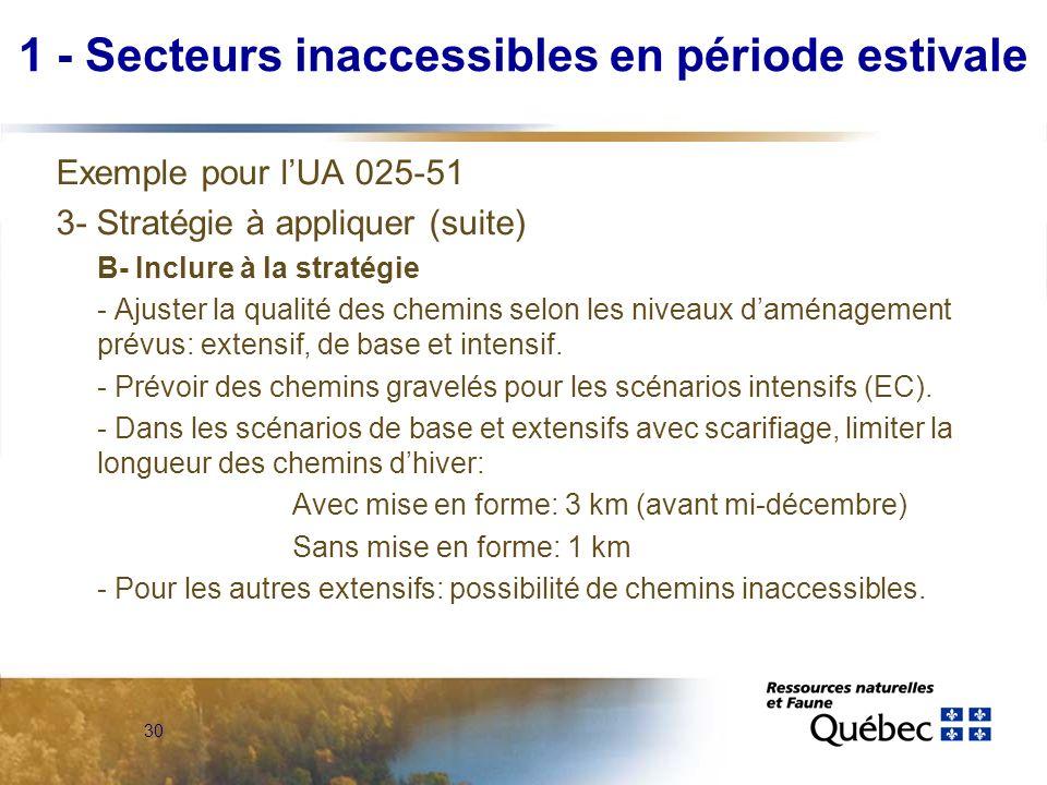 30 Exemple pour lUA 025-51 3- Stratégie à appliquer (suite) B- Inclure à la stratégie - Ajuster la qualité des chemins selon les niveaux daménagement