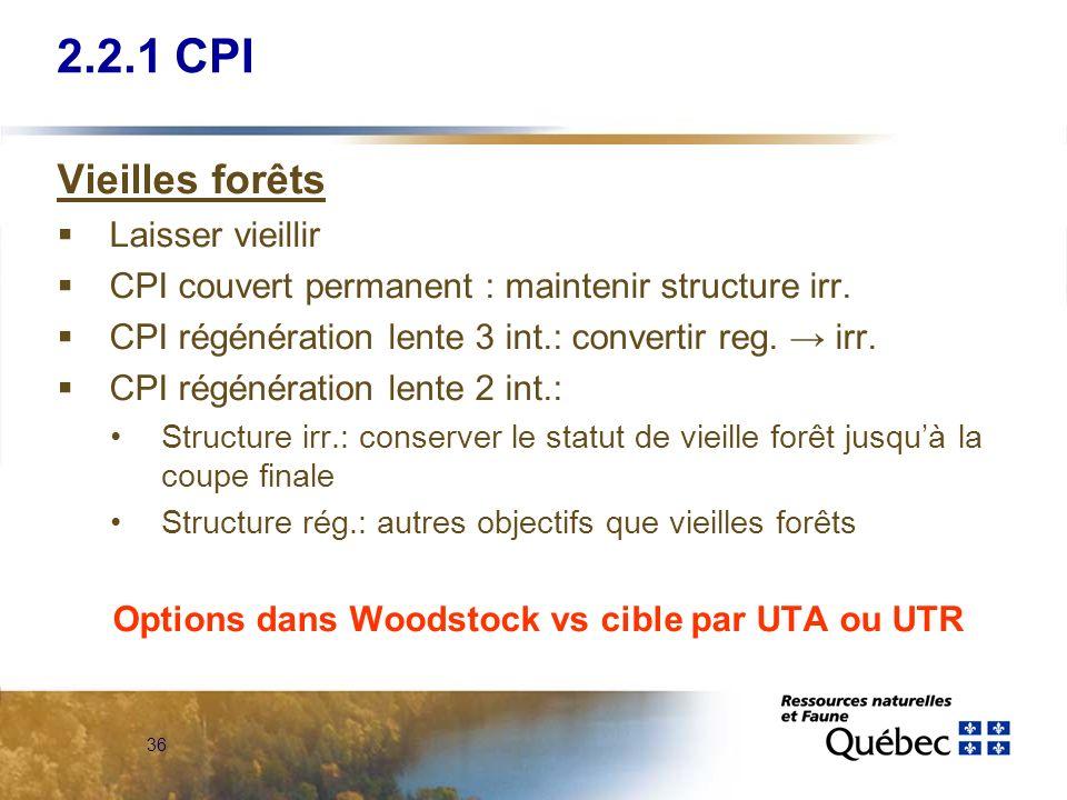 36 2.2.1 CPI Vieilles forêts Laisser vieillir CPI couvert permanent : maintenir structure irr. CPI régénération lente 3 int.: convertir reg. irr. CPI
