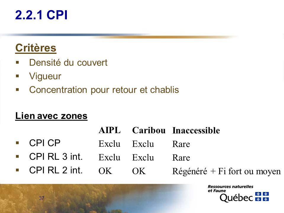 37 Critères Densité du couvert Vigueur Concentration pour retour et chablis Lien avec zones CPI CP CPI RL 3 int. CPI RL 2 int. 2.2.1 CPI AIPL Exclu OK