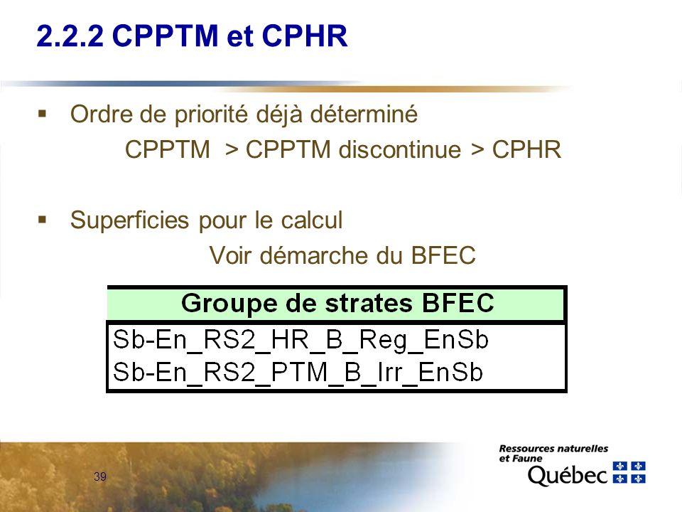 39 2.2.2 CPPTM et CPHR Ordre de priorité déjà déterminé CPPTM > CPPTM discontinue > CPHR Superficies pour le calcul Voir démarche du BFEC