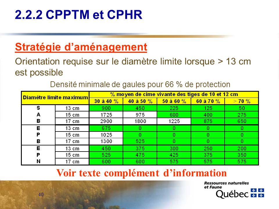 40 2.2.2 CPPTM et CPHR Stratégie daménagement Orientation requise sur le diamètre limite lorsque > 13 cm est possible Densité minimale de gaules pour