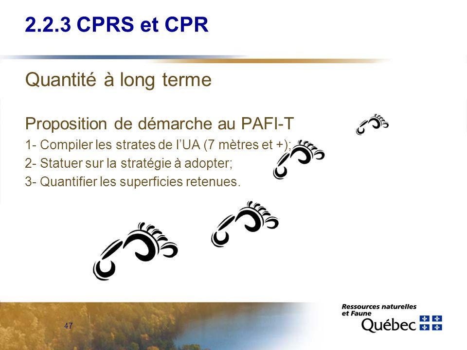 47 Quantité à long terme Proposition de démarche au PAFI-T 1- Compiler les strates de lUA (7 mètres et +); 2- Statuer sur la stratégie à adopter; 3- Q