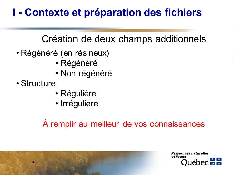 5 Régénéré (en résineux) Régénéré Non régénéré Structure Régulière Irrégulière À remplir au meilleur de vos connaissances Création de deux champs addi