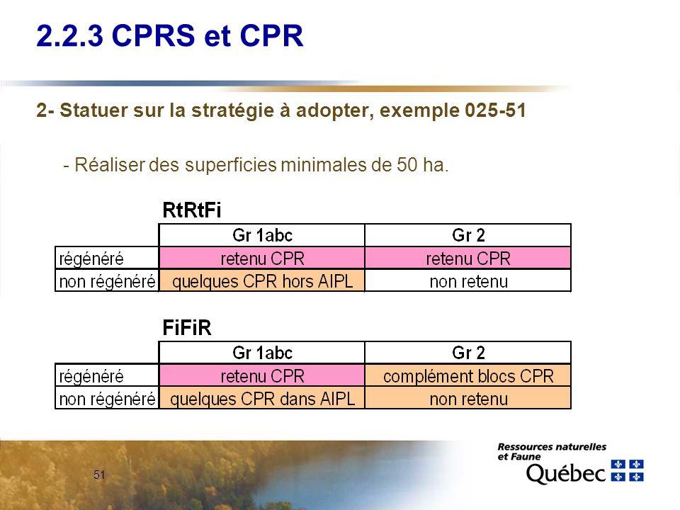 51 2.2.3 CPRS et CPR 2- Statuer sur la stratégie à adopter, exemple 025-51 - Réaliser des superficies minimales de 50 ha.