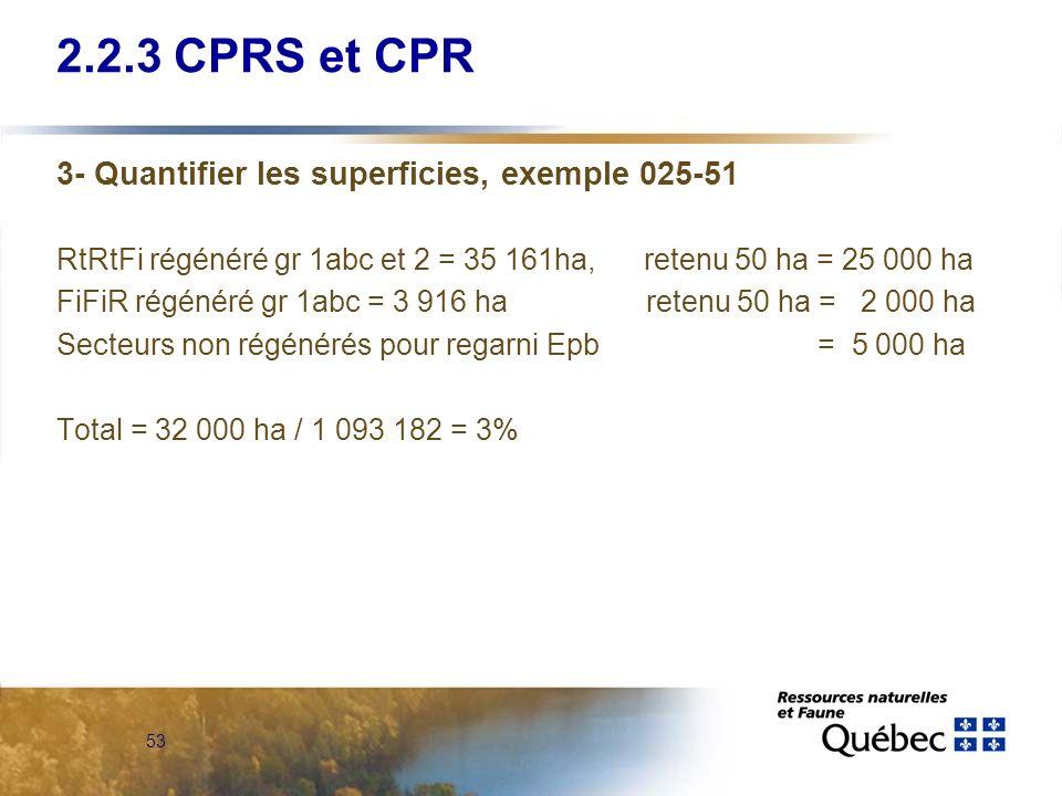 53 3- Quantifier les superficies, exemple 025-51 RtRtFi régénéré gr 1abc et 2 = 35 161ha, retenu 50 ha = 25 000 ha FiFiR régénéré gr 1abc = 3 916 ha r