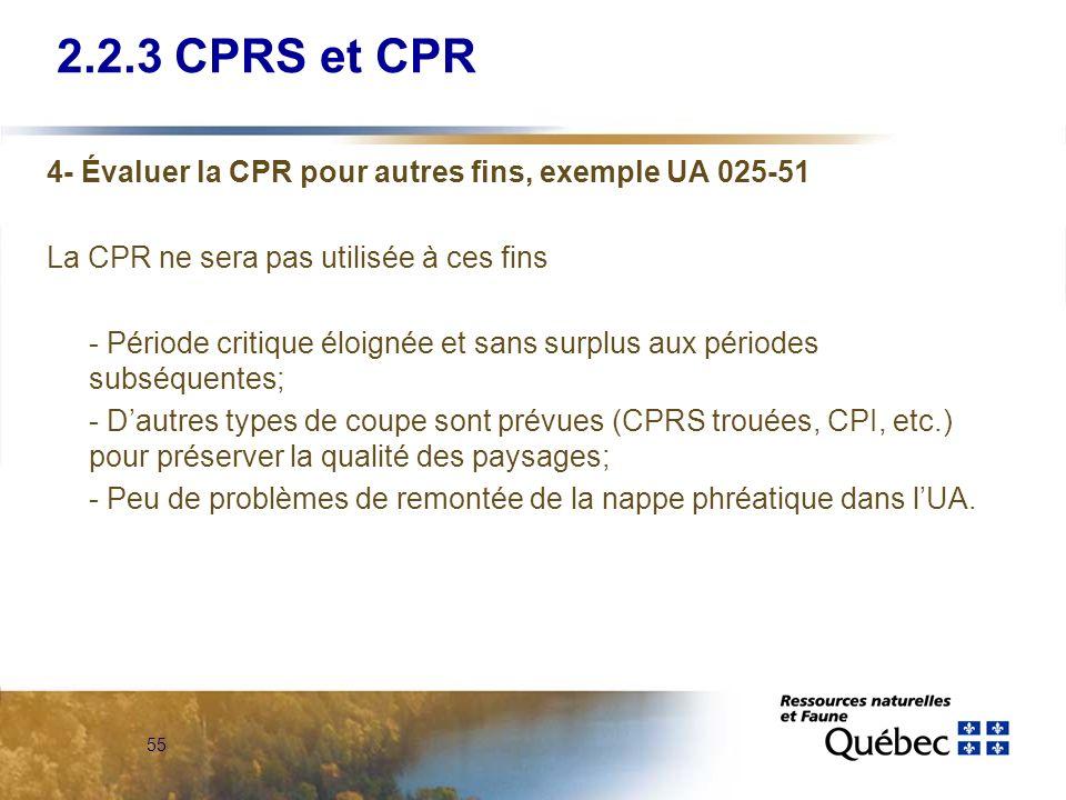 55 4- Évaluer la CPR pour autres fins, exemple UA 025-51 La CPR ne sera pas utilisée à ces fins - Période critique éloignée et sans surplus aux périod