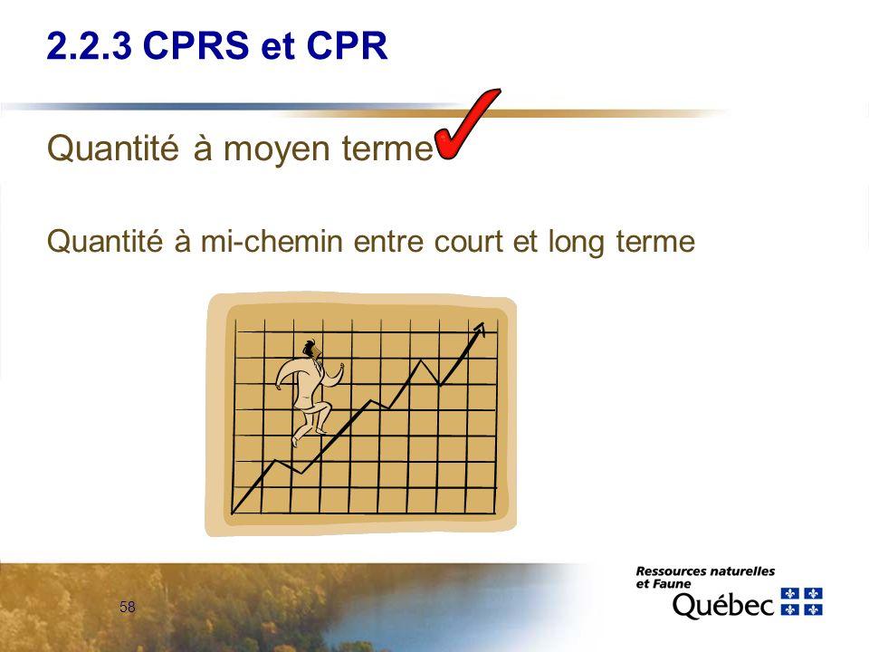 58 Quantité à moyen terme Quantité à mi-chemin entre court et long terme 2.2.3 CPRS et CPR