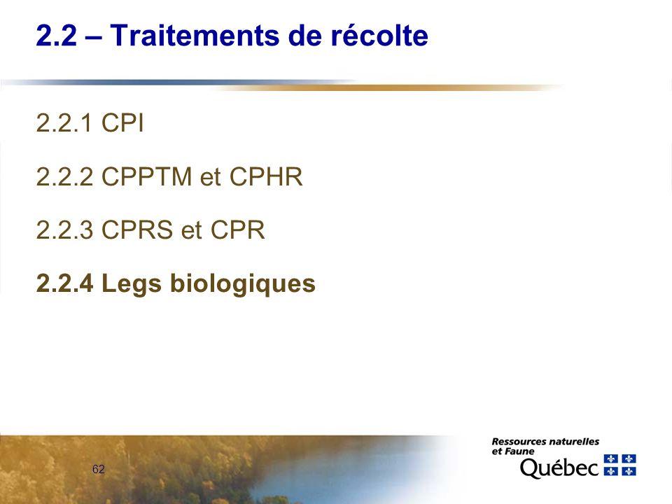 62 2.2 – Traitements de récolte 2.2.1 CPI 2.2.2 CPPTM et CPHR 2.2.3 CPRS et CPR 2.2.4 Legs biologiques