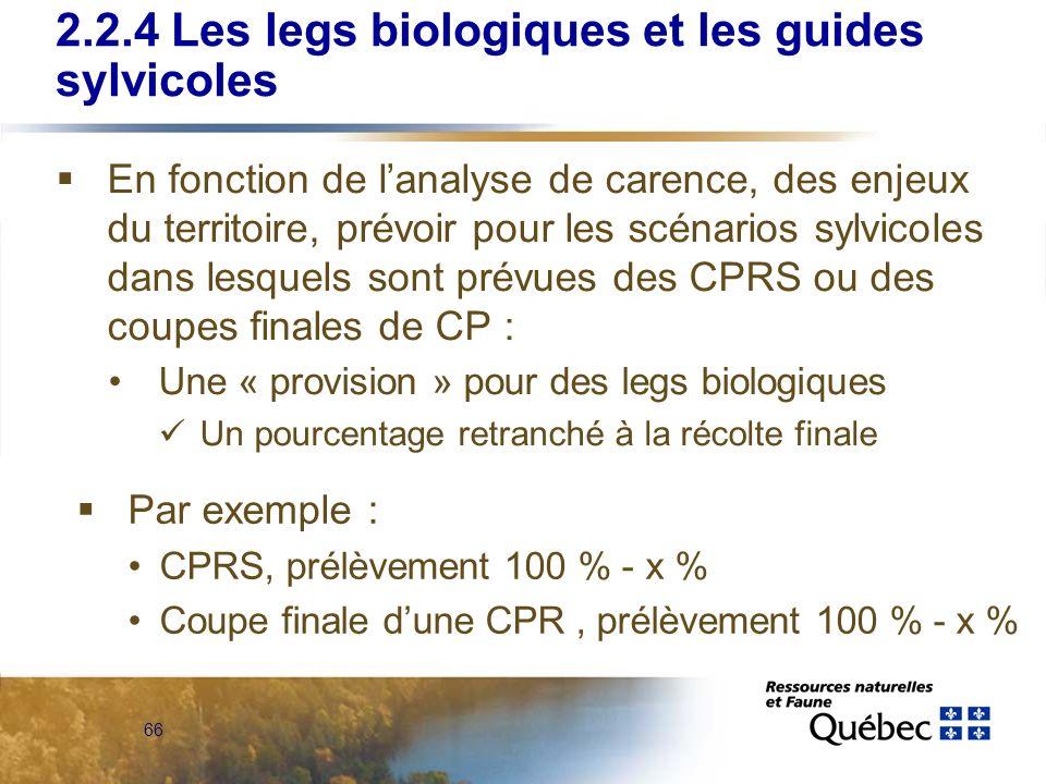 66 2.2.4 Les legs biologiques et les guides sylvicoles En fonction de lanalyse de carence, des enjeux du territoire, prévoir pour les scénarios sylvic
