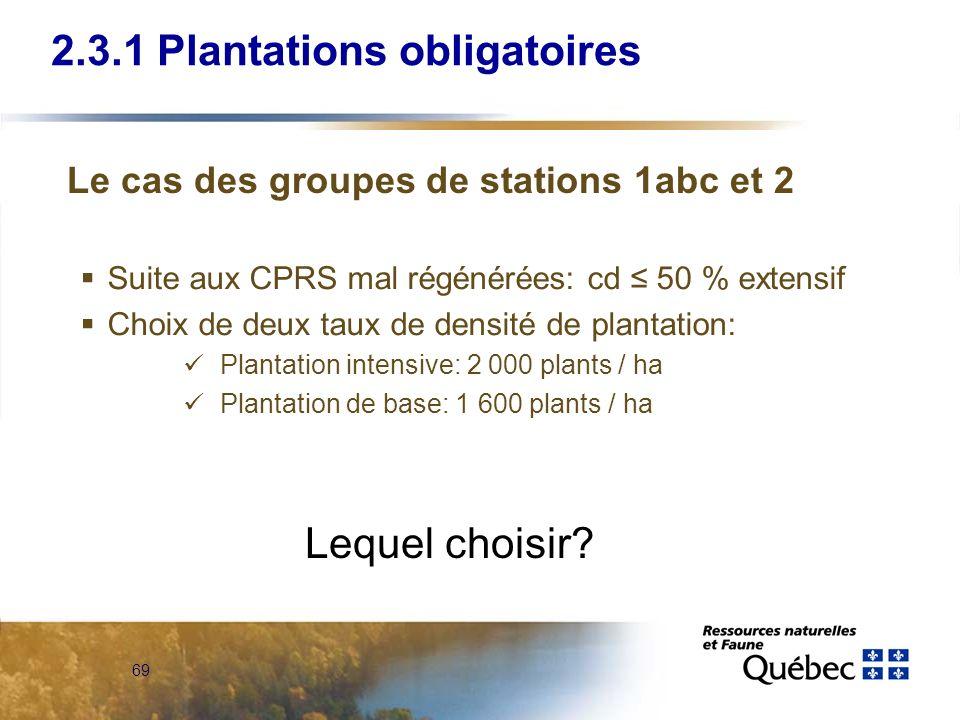 69 2.3.1 Plantations obligatoires Suite aux CPRS mal régénérées: cd 50 % extensif Choix de deux taux de densité de plantation: Plantation intensive: 2