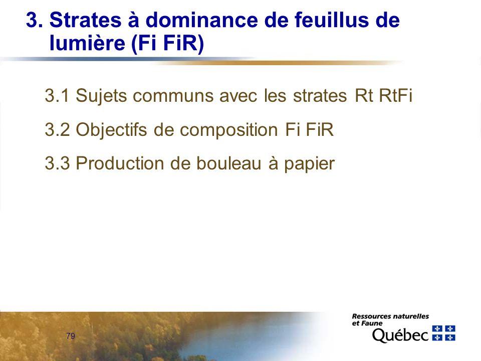 79 3. Strates à dominance de feuillus de lumière (Fi FiR) 3.1 Sujets communs avec les strates Rt RtFi 3.2 Objectifs de composition Fi FiR 3.3 Producti