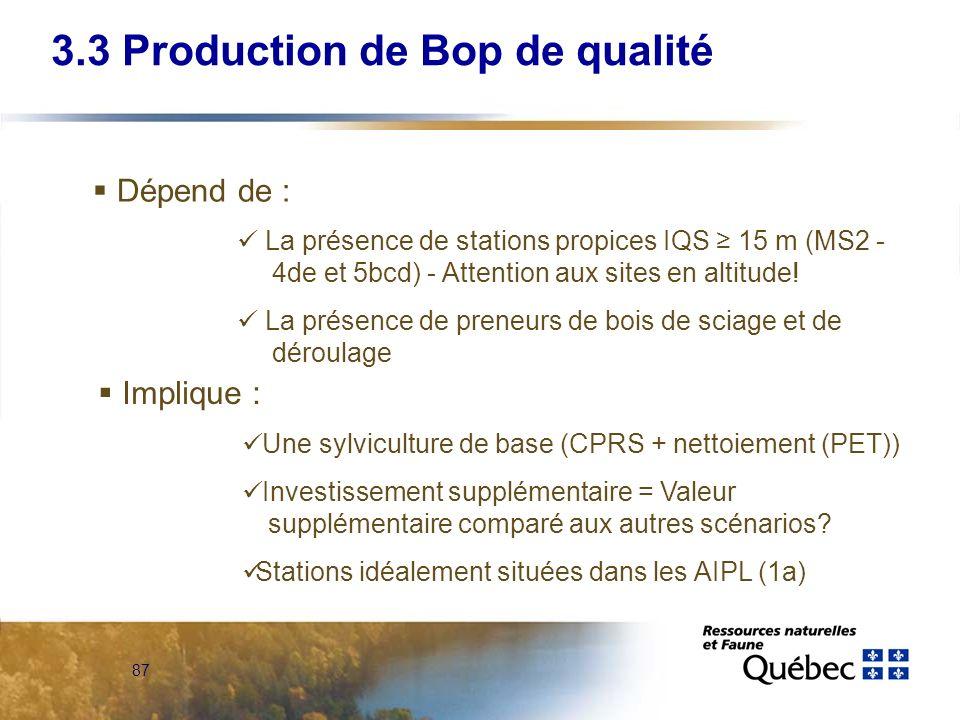 87 Dépend de : La présence de stations propices IQS 15 m (MS2 - 4de et 5bcd) - Attention aux sites en altitude! La présence de preneurs de bois de sci
