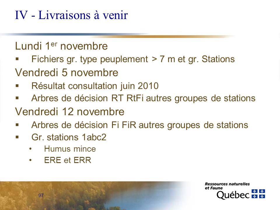 97 IV - Livraisons à venir Lundi 1 er novembre Fichiers gr. type peuplement > 7 m et gr. Stations Vendredi 5 novembre Résultat consultation juin 2010
