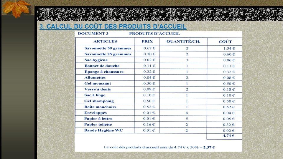 3. CALCUL DU COÛT DES PRODUITS DACCUEIL