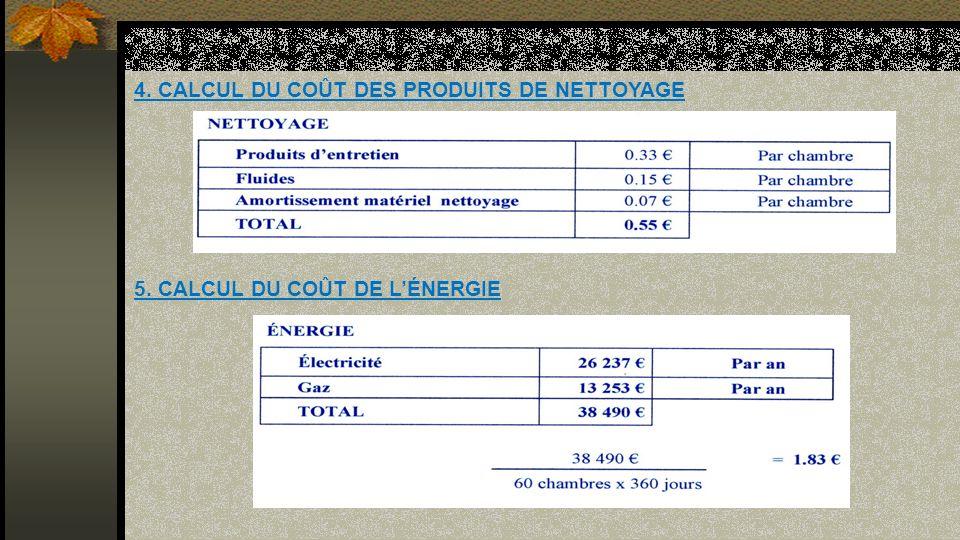 4. CALCUL DU COÛT DES PRODUITS DE NETTOYAGE 5. CALCUL DU COÛT DE LÉNERGIE