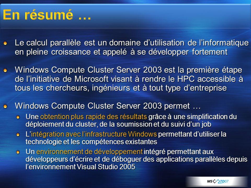 Le calcul parallèle est un domaine dutilisation de linformatique en pleine croissance et appelé à se développer fortement Windows Compute Cluster Serv