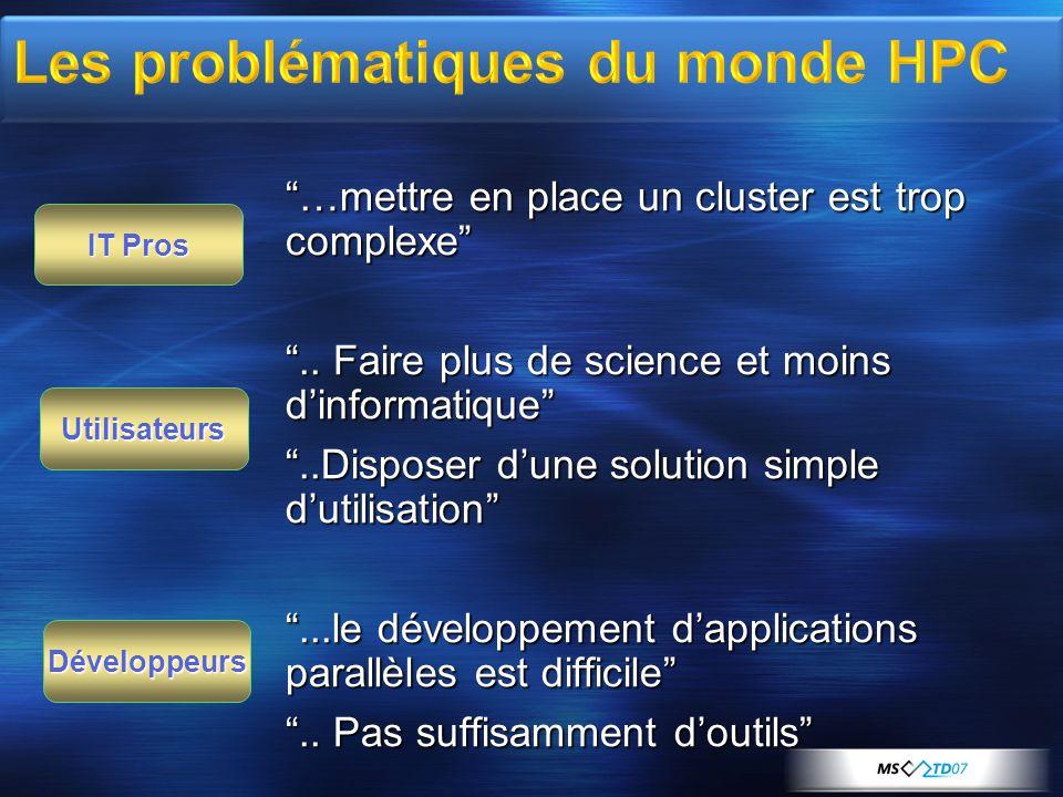 …mettre en place un cluster est trop complexe.. Faire plus de science et moins dinformatique..Disposer dune solution simple dutilisation...le développ