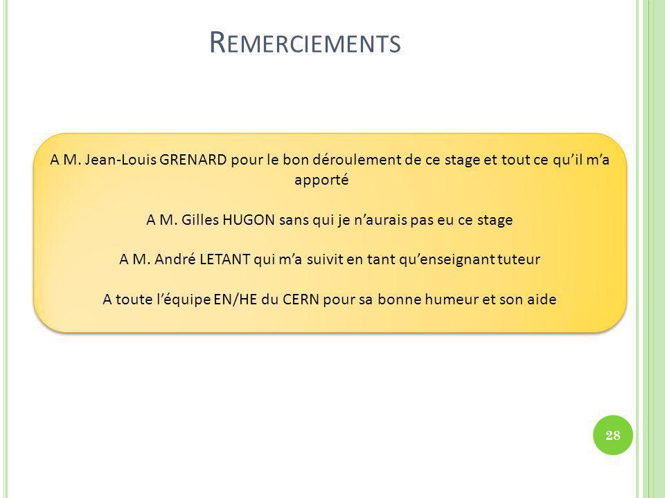 R EMERCIEMENTS A M. Jean-Louis GRENARD pour le bon déroulement de ce stage et tout ce quil ma apporté A M. Gilles HUGON sans qui je naurais pas eu ce
