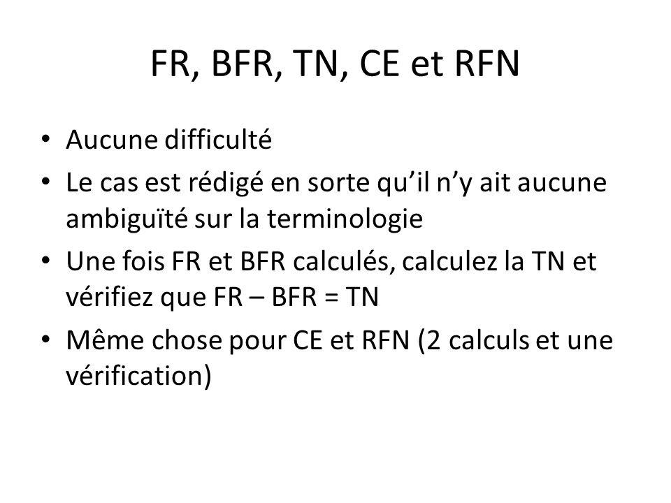 FR, BFR, TN, CE et RFN Aucune difficulté Le cas est rédigé en sorte quil ny ait aucune ambiguïté sur la terminologie Une fois FR et BFR calculés, calc