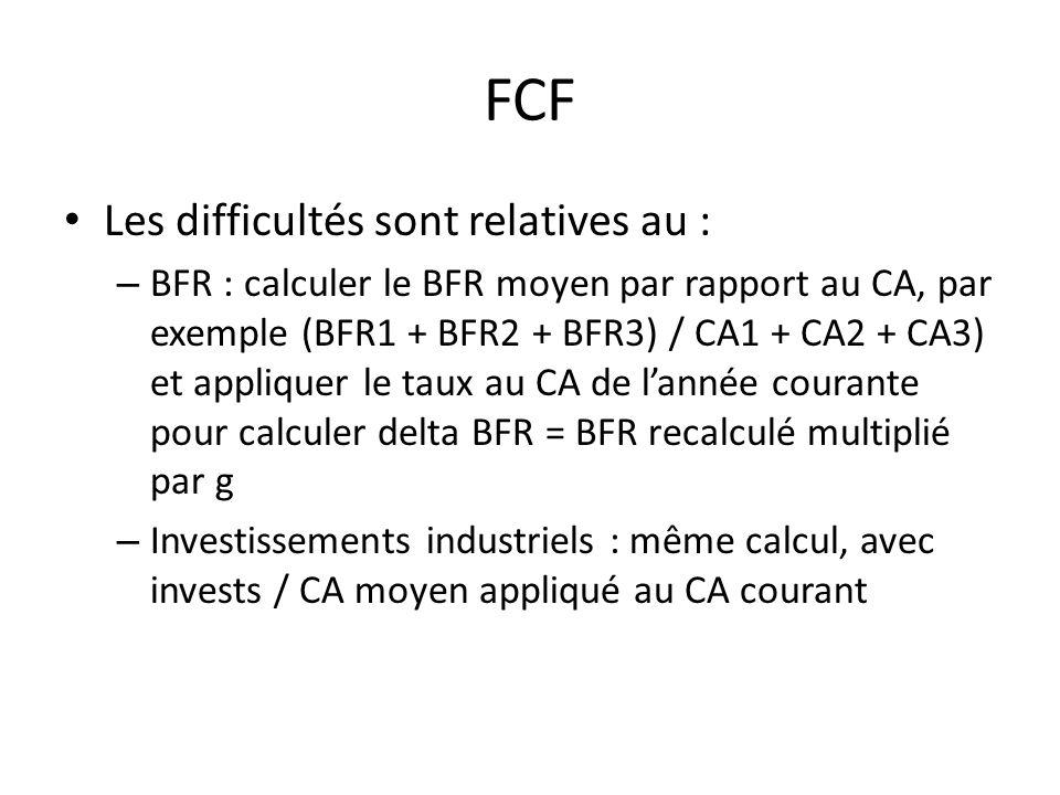 FCF Les difficultés sont relatives au : – BFR : calculer le BFR moyen par rapport au CA, par exemple (BFR1 + BFR2 + BFR3) / CA1 + CA2 + CA3) et appliq