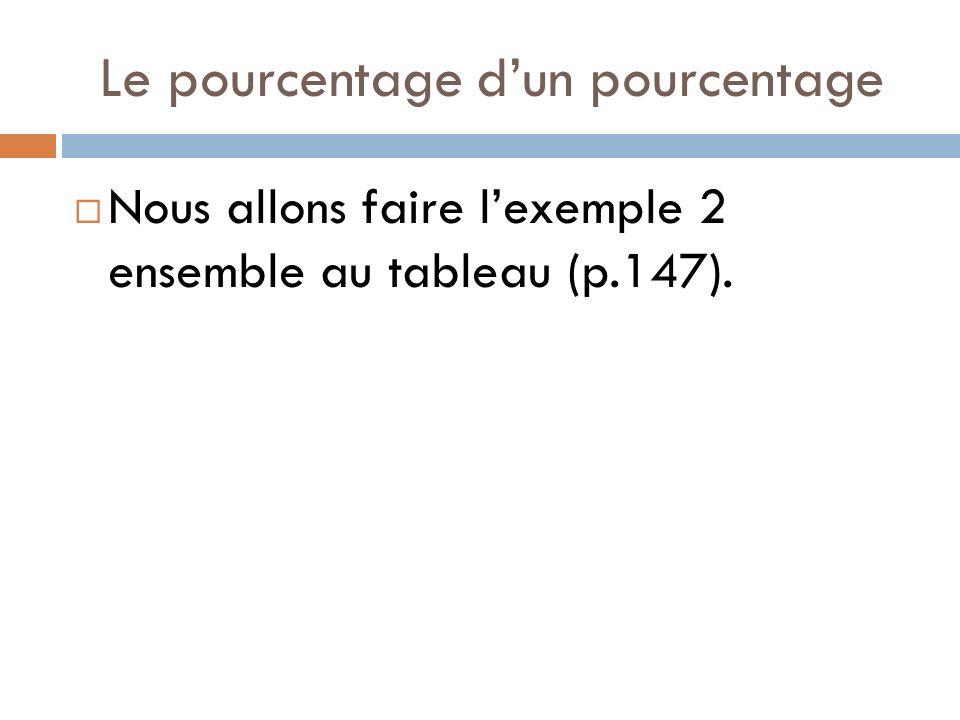 Le pourcentage dun pourcentage Nous allons faire lexemple 2 ensemble au tableau (p.147).