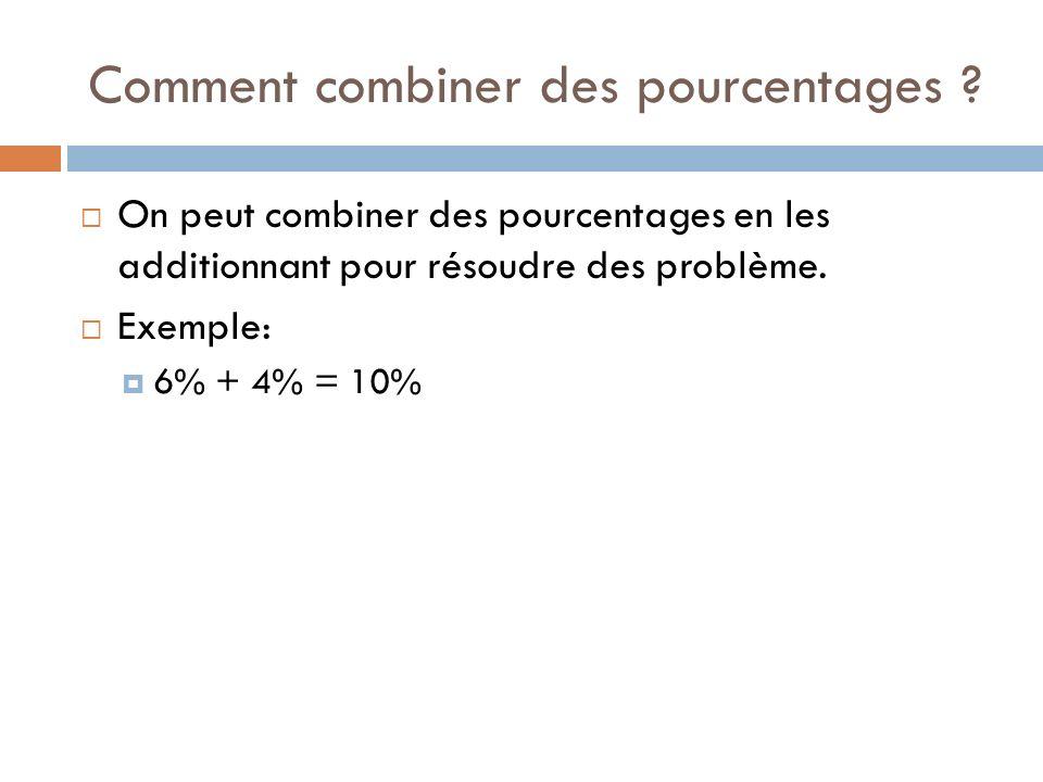 Comment combiner des pourcentages ? On peut combiner des pourcentages en les additionnant pour résoudre des problème. Exemple: 6% + 4% = 10%