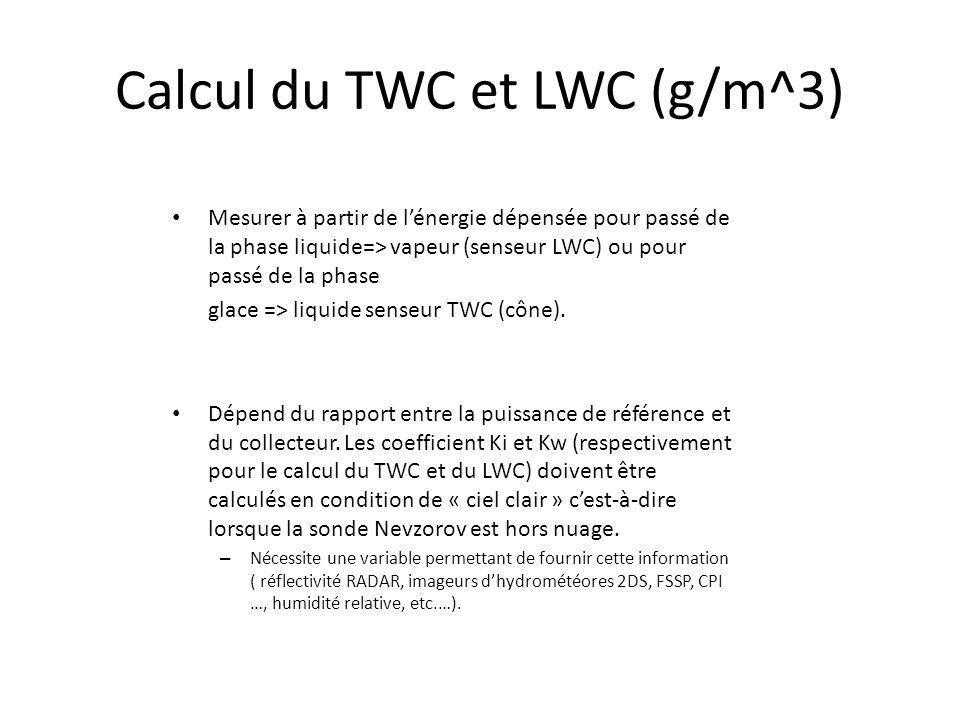 Calcul du TWC et LWC (g/m^3) Mesurer à partir de lénergie dépensée pour passé de la phase liquide=> vapeur (senseur LWC) ou pour passé de la phase gla
