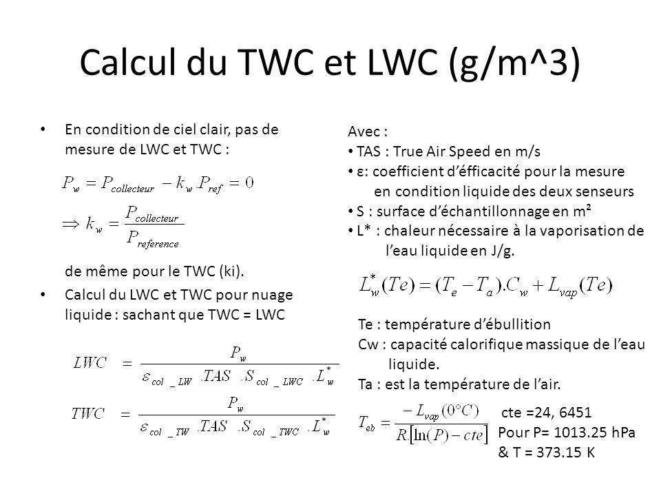 Calcul du TWC et LWC (g/m^3) En condition de ciel clair, pas de mesure de LWC et TWC : de même pour le TWC (ki). Calcul du LWC et TWC pour nuage liqui
