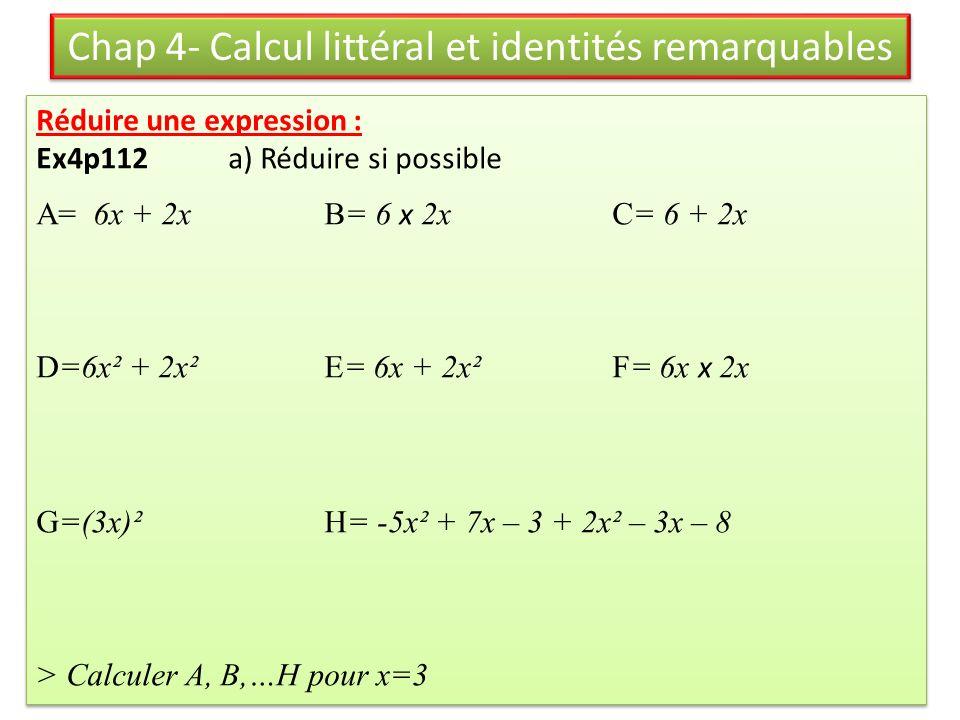 Ex18p119: Soit F= -x² + 12x – 20 On veut calculer F pour toutes les valeurs entières de x de 1 à 20.