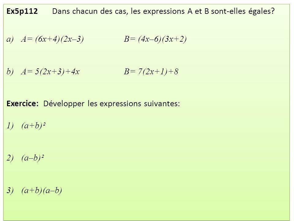 II / Identités remarquables Quels que soient les nombres a et b, on a : (a + b)² = Le terme « 2ab » sappelle le double produit (2 x a x b).
