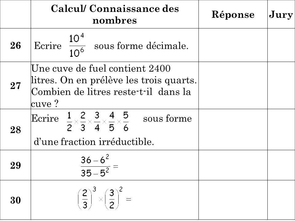 Calcul/ Connaissance des nombres RéponseJury 26 Ecrire sous forme décimale. 27 Une cuve de fuel contient 2400 litres. On en prélève les trois quarts.