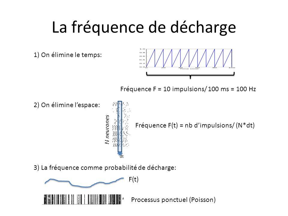 La fréquence de décharge Fréquence F = 10 impulsions/ 100 ms = 100 Hz 1) On élimine le temps: 2) On élimine lespace: dt Fréquence F(t) = nb dimpulsion