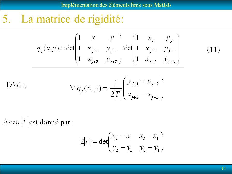 17 Implémentation des éléments finis sous Matlab 5.La matrice de rigidité: