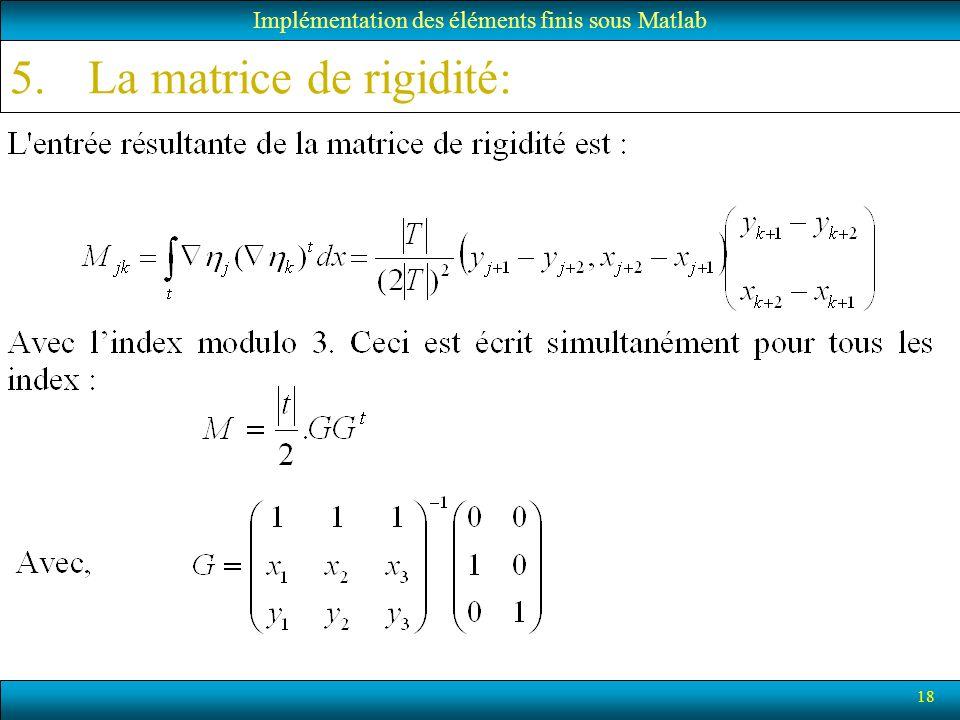 18 Implémentation des éléments finis sous Matlab 5.La matrice de rigidité: