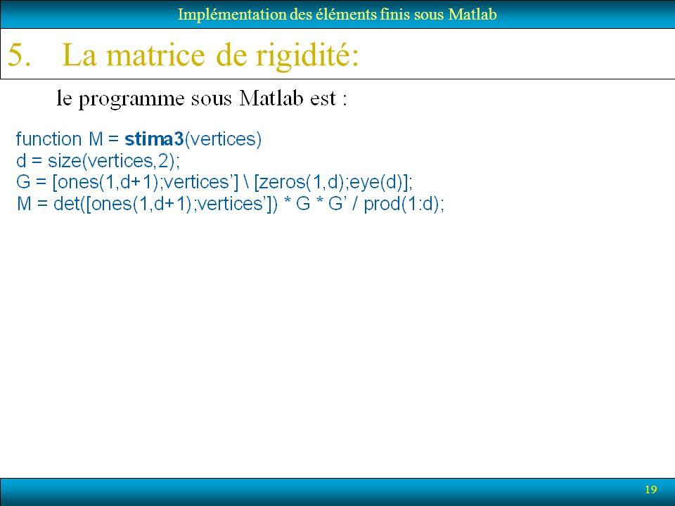19 5.La matrice de rigidité: Implémentation des éléments finis sous Matlab