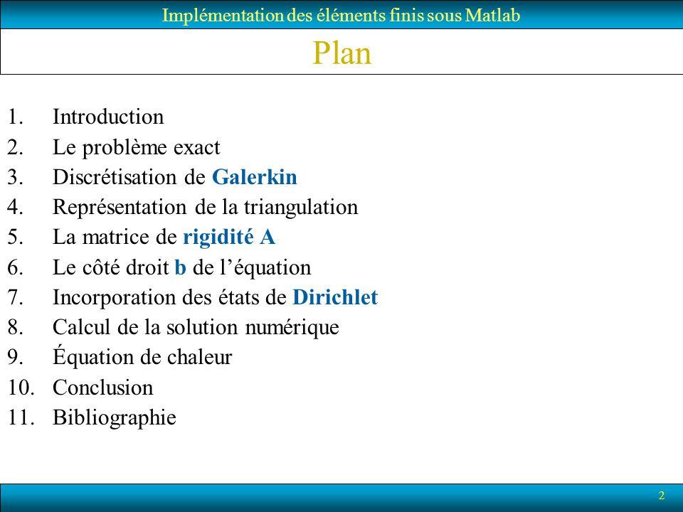 2 Plan 1.Introduction 2.Le problème exact 3.Discrétisation de Galerkin 4.Représentation de la triangulation 5.La matrice de rigidité A 6.Le côté droit