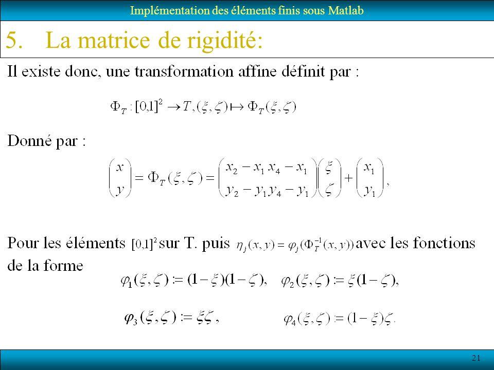 21 Implémentation des éléments finis sous Matlab 5.La matrice de rigidité: