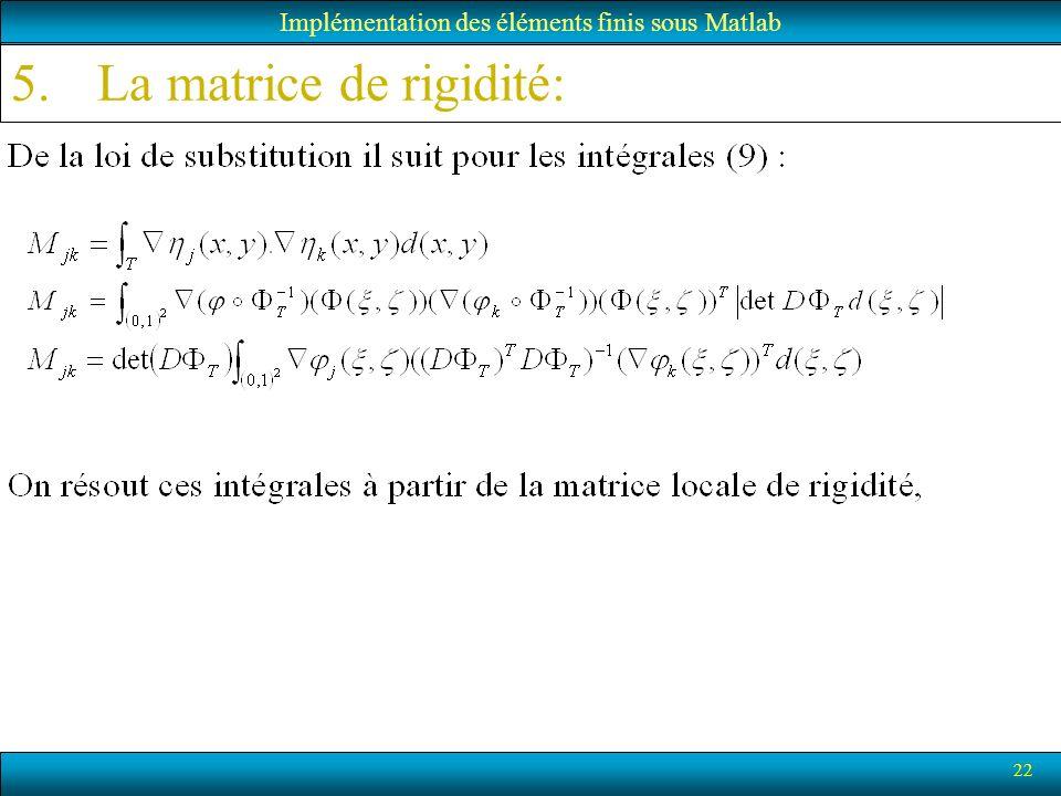 22 Implémentation des éléments finis sous Matlab 5.La matrice de rigidité: