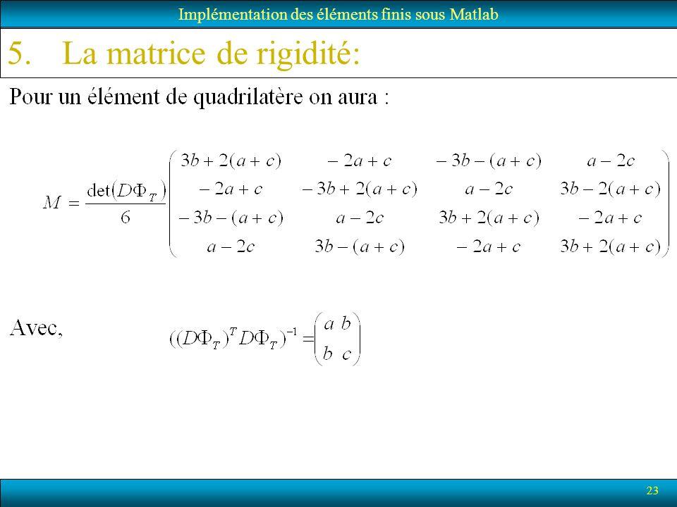 23 Implémentation des éléments finis sous Matlab 5.La matrice de rigidité: