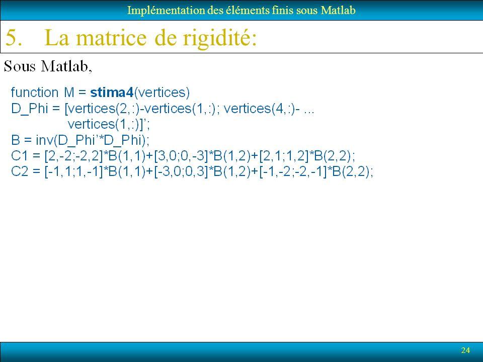 24 5.La matrice de rigidité: Implémentation des éléments finis sous Matlab