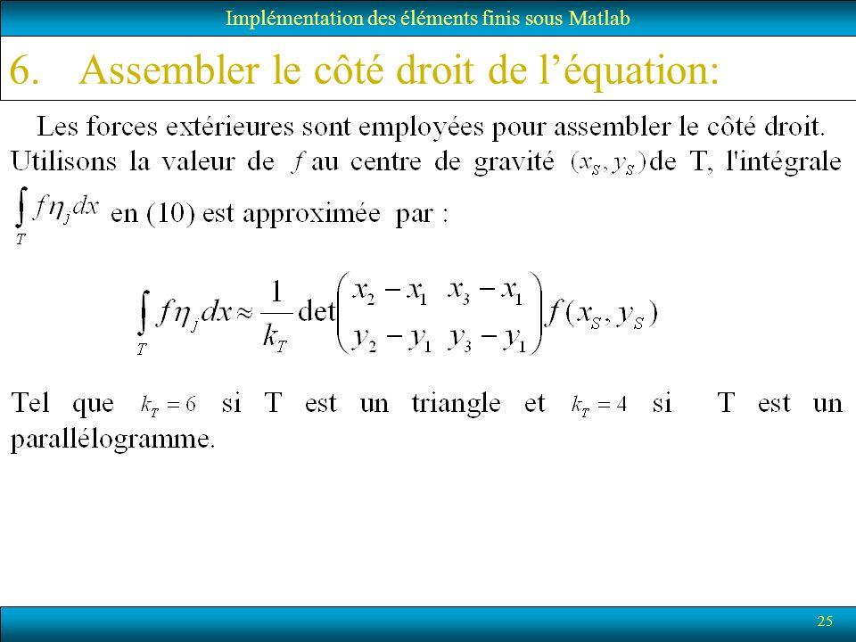 25 6.Assembler le côté droit de léquation: Implémentation des éléments finis sous Matlab
