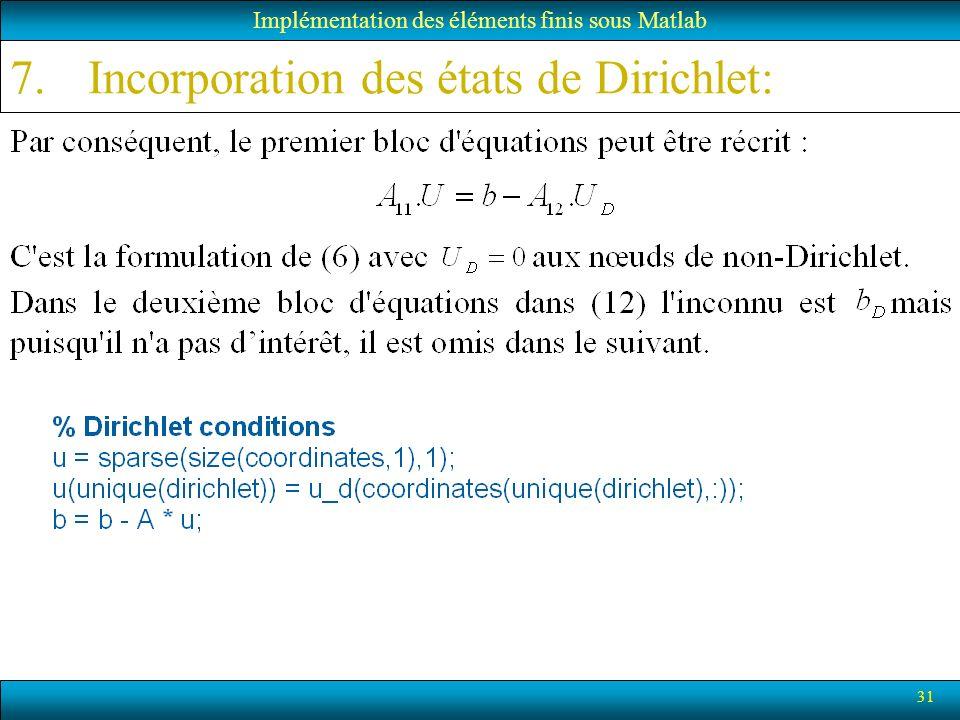 31 Implémentation des éléments finis sous Matlab 7.Incorporation des états de Dirichlet:
