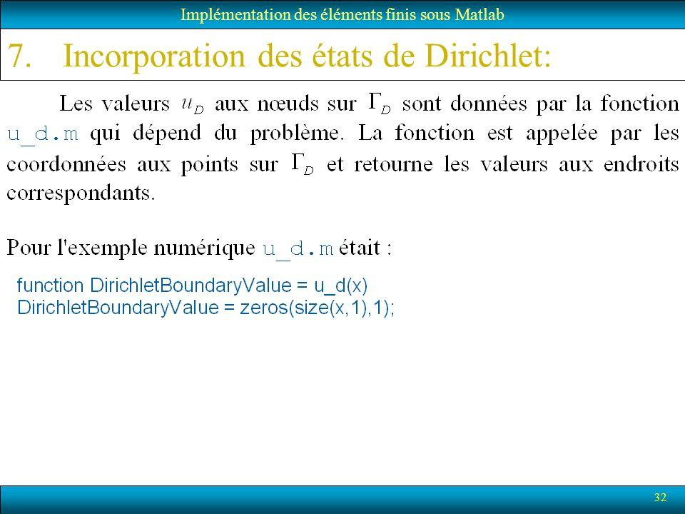32 Implémentation des éléments finis sous Matlab 7.Incorporation des états de Dirichlet: